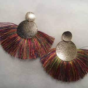 Jewelry - Multi Color Fringe Earrings With Goldtone Disc.